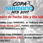 Cambio de fechas 2ª y 6ª válida Copa Colombia Shimano 2017